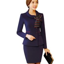Saia longa de roupa formal para mulheres on-line-Mulheres saia ternos primavera formal de manga longa slim blazer de Negócios com saia escritório senhoras plus size uniforme