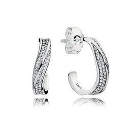 Orelha jóias 925 on-line-925 Sterling Silver CZ Brincos De Diamante Caixa Original para Pandora Elegantes Ondas Ear gancho Brincos para Mulheres Presente Meninas Jóias BRINCO