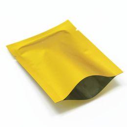 Lámina de calor dorado online-Oro mate 100 piezas 10x15 cm Parte superior abierta Papel de aluminio Paquete de almacenamiento de alimentos secos al vacío Bolsas Papel de aluminio Mylar Heat Seal Paquete de embalaje de grado alimenticio Bolsas