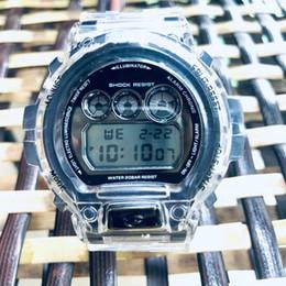 Frauen sehen sich transparent an online-Hot 35th Anniversary Transparent DW6900 Luxuxmänner Uhr LED beiläufige Digital Quarz Frauen-Uhr-freies Verschiffen
