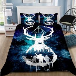 elegante cama queen size conjuntos Desconto Desenhos animados Potter clássico elegante cama 3D Define Impresso edredon cobrir Set Rainha Rei Twin Size