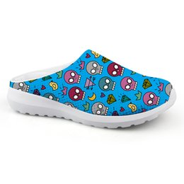 mens skull shoes Coupons - Customized Colorful Mens Summer Slippers Cartoon Skull Printed Mesh Flats Male Beach Casual Water Shoes Men Breathable Sandals
