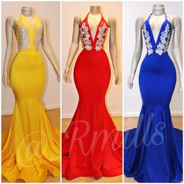 silk long evening dress Promo Codes - Royal Blue Mermaid Long Prom Dresses 2019 Halter Deep V Neck Backless Lace Appliques Sweep Train Formal Evening Dresses Red Prom Gowns