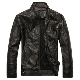 Мужские классические кожаные куртки онлайн-Mens Leather Jackets Classic Motorcycle Bike Cowboy Jacket Autumn Casual Male Velvet Thick Coats  Clothing 5XL Dropshipping