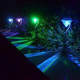 luci da giardino esterne del percorso solare Sconti Outdoor LED Solar Powered Garden Path Lampade a palo Lampade a LED Diamonds Prato Light Pathway DLH176