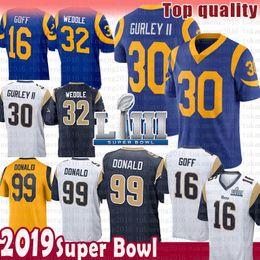 jersey de gurley Rebajas 30 Todd Gurley 99 Aaron Donald St.louis Jersey Rams 16 Jared Goff 32 Eric Weddle 2019 Super Bowl LIII color parche Camisetas de fútbol