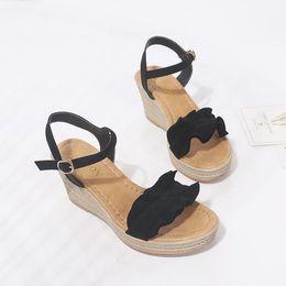 1853cbf838e004 Dress Shoes Sexy Sandals Pumps Fashion Women Wedge Heels Ruffle Peep Toe  Buckle Strap Footwear Female Summer Beach Gladiator
