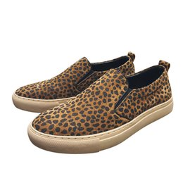 56d670d930 Spring Genuine Leather Slip-On Casual Shoes Leopard Print Flats Loafers  High Quality Dress Male Sneakers Mens Shoes Luxury Brand