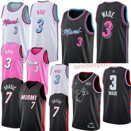 2019 split sport trikots 2019 Miami neueste Dwayne Trikot 100% genäht Heat 3 Wade gesticktes Logo schwarz weiß rosa Shorts Herren Trikot