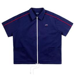 2019 camisas azul marino 19ss Noah cremallera Tee bordado logo Hombres Mujeres 1n: 1 Moda de Alta Calidad Casual Azul marino Camiseta para hombre NOAH camisetas rebajas camisas azul marino