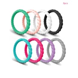 comfort fit rings Coupons - 8pcs Women Silicone Wedding Band Ring Thin-Silicone Stackable Rings Comfort Fit Women Sparkle Rubber Band Elegant Flexible