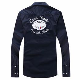 Mejores camisas de marca para hombres online-Camisas de manga larga masculinas del polo de las camisas de manga larga del parque de Eden del superventas del verano Diseño agradable de la marca de moda de la calidad agradable M XL XLL