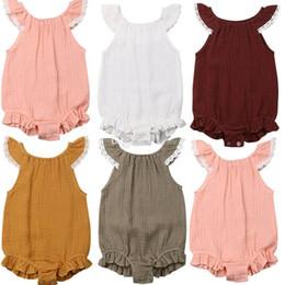 2019 linda niña rosas 5 colores algodón de lino lindo bebé infantil niñas volantes mameluco de algodón mono ropa ropa bebé ropa envío gratis