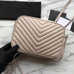 2019 Famose donne di alta qualità borse in pelle di vitello vera borsa della chiusura lampo chevron borsa della messaggero della nappa morbida borsa fotografica lou da
