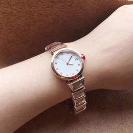 relojes de damas hermosas Rebajas Hermosa mujer de cuarzo de pulsera 29MM oro del acero inoxidable bracklet Conocer mujeres relojes del reloj de señoras con esfera blanca Marcadores horas diamante