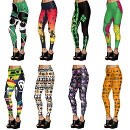 Kürbis-leggings online-Frau 3d gedruckt cartoon leggings halloween kürbis schädel dünne elastische leggings fitness sexy hosen sport yoga pantas ljja3026