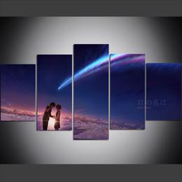 5 pezzi di grandi dimensioni Canvas Wall Art Pictures Creativo Anime Your Name Art Print Pittura a olio per soggiorno decorazione della parete della pittura supplier wall print anime da anime stampate a parete fornitori