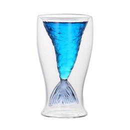80ML Coppa di cristallo creativa a forma di sirena Coda di pesce in vetro trasparente Pratica tazza di vino creativa Bicchieri da bar in vetro resistenti al calore con scatola da