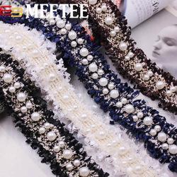 Kleid handwerk stoffe online-3 cm Perle Perlen Spitzenborte Bestickte Spitze Band Stoff Schuhe Kappe Perlen Quaste Fringe DIY Kleid Nähzubehör Handwerk