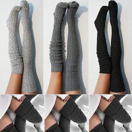 collant per le signore Sconti Calze autoreggenti da donna Calze da donna in maglia di lana calda sopra il ginocchio