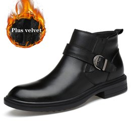 dress ankle boots for men Promo Codes - 2019 Men Genuine Leather Winter Boots Plus velvet Warm Snow Men Boots Ankle For Business Dress Shoes