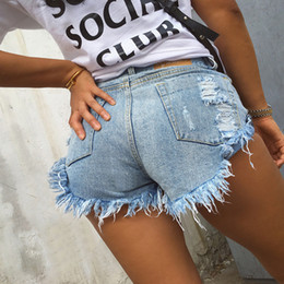 2020 blue jeans chicas calientes Vintage Ripped Hole Fringe Negro / blanco / azul Shorts Mujeres Casual Pocket Jeans Shorts Summer Girl Hot Shorts Y19050903 rebajas blue jeans chicas calientes