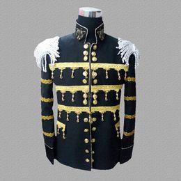 Canada Noir blazer hommes costumes conceptions veste costumes costumes de scène pour chanteurs draps en métal vêtements danse star style robe punk rock supplier sheet dresses Offre