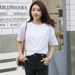 2019 nuovi vestiti coreani per le donne T-shirt da donna T-shirt da donna versione coreana della Camicia bianca a maniche corte in cotone selvaggio allentato di colore solido nuovo sconti nuovi vestiti coreani per le donne