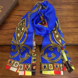 Argentina Nueva bufanda larga para mujer de diseño 100% seda Hermosa y elegante color azul patrón de impresión tamaño 180 cm - 65 cm Suministro