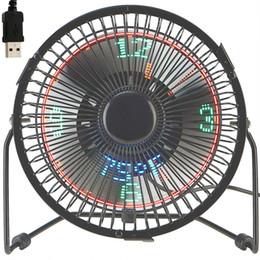 Küçük Masaüstü Fan Saat Ve Sıcaklık Göstergesi Ile 4 Inç Metal Çerçeve USB powered flaş LED ekran elektrikli kişisel soğutma fanı RGB supplier smallest usb flash nereden en küçük usb flaşı tedarikçiler