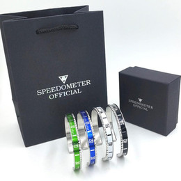 2019 pulseiras de punho jóias traje Relógio de luxo estilo Velocímetro oficial Cuff Bracelet Mulheres Pulseira de Aço Inoxidável Dos Homens Pulseiras com Sacos de Caixa de Presente Frete grátis