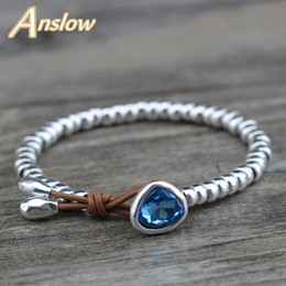 cute bracelet korean fashion Promo Codes - Anslow Fashion Jewelry Cheap Cute Romantic Crystal Heart Korean Couple Handmade Strand Beads Bracelet Friendship Gift LOW0733LB