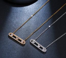 Deutschland 2019 neue 925 silber Modemarke Klassische CZ Zirkon charming Gold silber rose gold Anhänger bar messika Halskette Für Frauen Versorgung