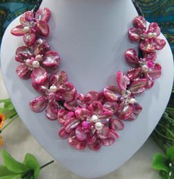ярко-розовый колье Скидка Мода Ярко-Розовый Барокко Оболочки Цветок Колье Ожерелье