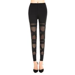 Перевязанные черные гетры онлайн-Liva Girl Sexy Halloween Leggings Mesh Womens Leggins Gothic Legging Slim Black Punk Rock Elastic Bandage Femme Pants