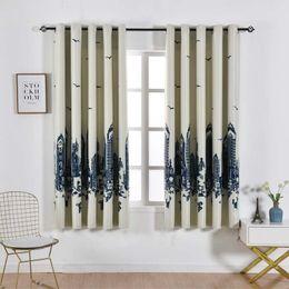 2019 weiße schmetterlingsvorhänge 2,1 m Wolkenkratzer gedruckt Verdunkelungsvorhang für Wohnzimmer Esszimmer Schlafzimmer