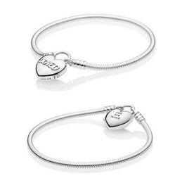 Deutschland Authentische S925 Sterling Silber Charms Armbänder Sie sind geliebt Herz Vorhängeschloss Bettelarmband Fit für Pandora DIY Bead Charms Versorgung