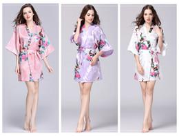 Robes de nuit en soie en Ligne-Kimono floral pyjams été filles dame chemise de nuit 12 styles vêtements de nuit en soie femmes robe de nuit col en v pjms