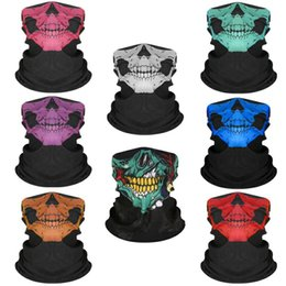 scudi moto Sconti Sciarpa Festival Maschera Moto Face Shield Halloween SKULL Fantasma Faccia Maschera antivento Sun Balaclava Party Mask Maschere Bicyle