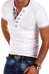 Collo di profondità della maglietta degli uomini online-Magliette Uomo Moda Uomo Estate Profondo scollo a V Maglietta a maniche corte Slim Slim Maglietta taglia M-2XL
