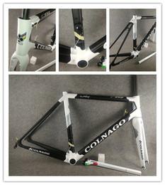 bicicleta de fibra de carbono preta fosca Desconto Colnago C64 Matt Preto Gloss Branco Italia (PKWH) quadro de estrada Quadro de bicicleta de carbono Di2 E Mecânica Ambos