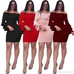6d40260b17 Cross Border European Best Sellers Sexy Self-cultivation One Word Horn  Sleeve Dress Spandex XL