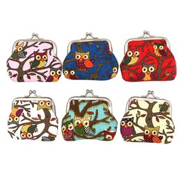 cute owl wallets Promo Codes - 1pcs cute owl pattern leather coin purses zipper zero wallet women purse,lady coin bag key packet drop ship