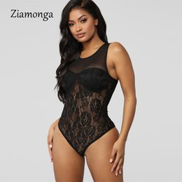 mesh bodysuits women Coupons - Ziamonga Black Lace Mesh Elegant Bodysuit Women Female Jumpsuit Backless Transparent Sexy Bodycon Body Suits Summer Bodysuits