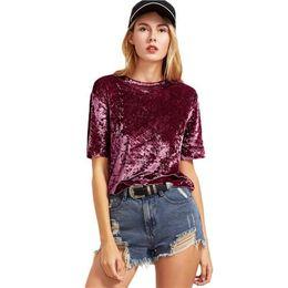 e9d82d18591b 2019 Summer New Fashion Hot Sale Sexy Women designer Ladies Tops Round Neck  Short Sleeve Crushed Velvet Casual T-shirt