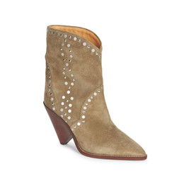 2021 keil stiefeletten nackt Hot Sale-New Nude Suede Studded Ankle Boots Women luxury Point toe Slip on Spike Wedge Heels Short Boots comfortable Winter Shoes Woman