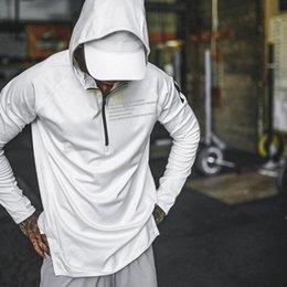 Schnelle pulloverjacke online-2019 neue Herbstsportjacke, Kappe, im Freientraining, lange Hülse, schneller Trockenlauf, Jacke der Eignungsmänner geben Verschiffen frei