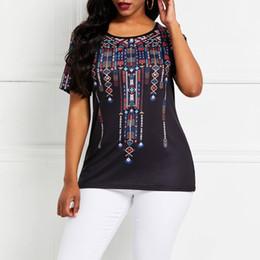 b3c4b976056 Verano Étnico Negro Tallas grandes Elegantes Casual Mujer Top Tees Ropa  2019 Estampado delgado Streetwear Moda para mujer Camisetas largas