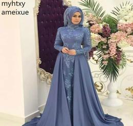 2019 faire une robe à col haut 2019 Arabe Saoudien Musulman Gris-bleu Robe De Soirée Col Haut Hijab Manches Longues Femmes Porter Robe De Soirée Sur Mesure Plus Taille faire une robe à col haut pas cher