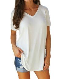 Туника онлайн-Новая женская футболка Мода больших размеров Женская футболка Solid V Шея с коротким рукавом с закругленными краями Длинная футболка Повседневный топ женский Туника